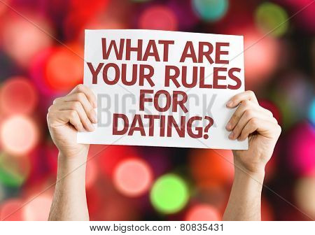 What are your Rules for Dating? card with colorful background with defocused lights