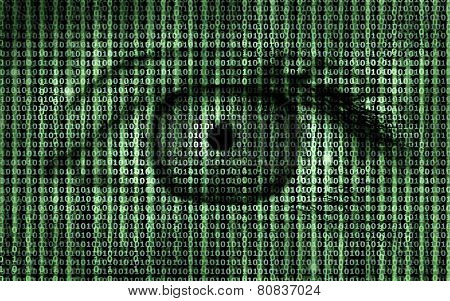 Matrix Binary Program Code with Human Eye -  Concept Background