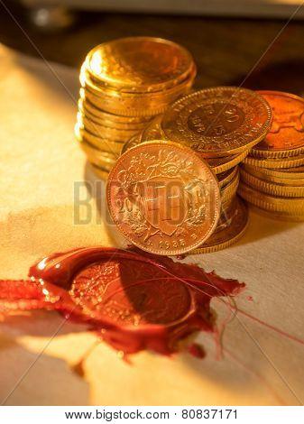 Twenty Swiss Francs gold coins Antique parchment paper sheets  poster