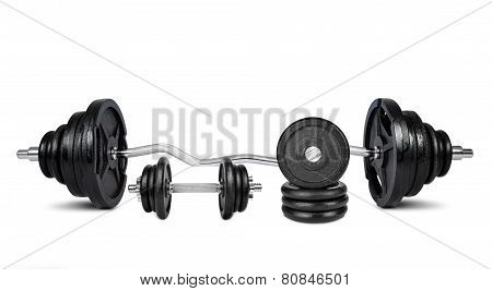 Black dumbbells isolated on a white background poster
