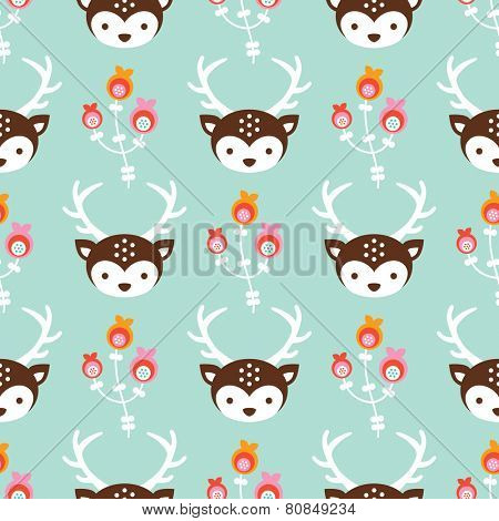 Seamless pastel blossom deer illustration reindeer antlers kids colorful background pattern in vector