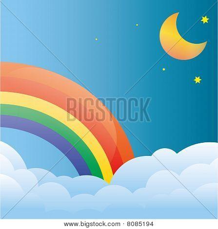 Rainbow with sundown and moon