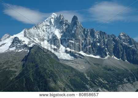 Peaks In Snow Nearby Chamonix In Alps In France