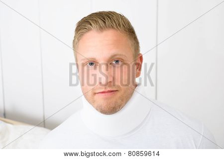 Man Wearing Cervical Collar