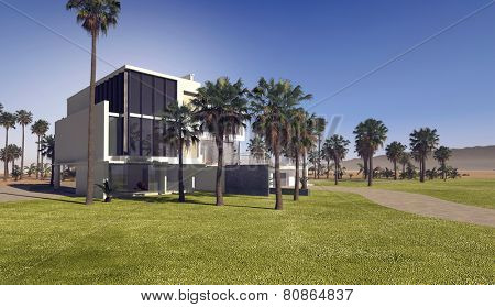 3D Rendering of Contemporary upmarket tropical villa with rectangular whitewashed walls and a flat roof in extensive grounds with landscaped lawns and palm trees