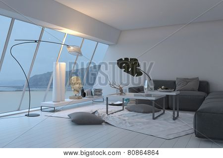 3D Rendering of Modern white spacious living room interior with panoramic sloped windows overlooking the view furnished with a comfortable grey lounge suite illuminated with lamps