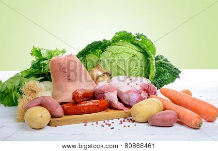 Vegetables And Meats For Preparing A Hotpot With Cabbage