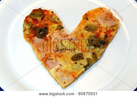 Heart-shaped Pizza With Tomato Mozzarella