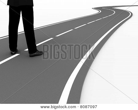 Man and road.