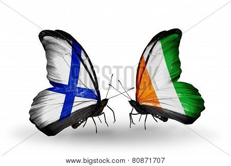 Two Butterflies With Flags On Wings As Symbol Of Relations Finland And Cote Divoire
