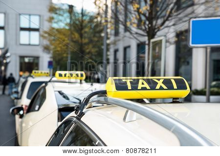 Array Of Taxi Cabs Parked