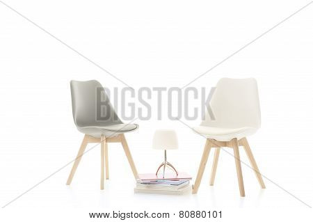 Two Stylish Modern Chairs Facing Each Other