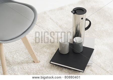 Stylish Metal Flask With Coffee Mugs