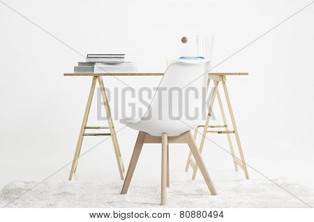 Modern Minimalist Desk And Chair