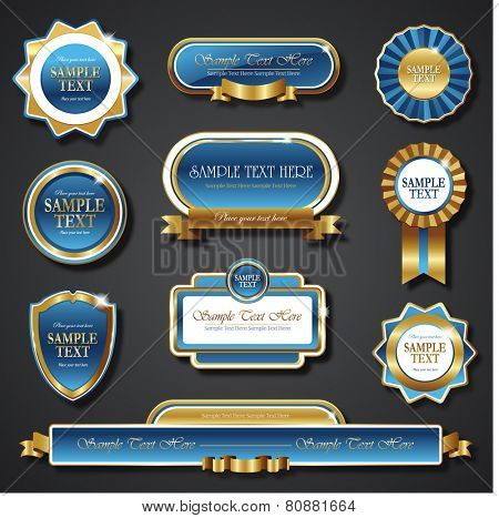 blue golden promo stickers quality seals and ribbons