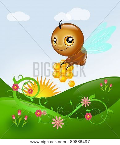 Cute Bee Above Floral Landscape