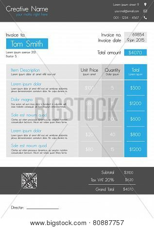 Invoice template - clean modern style of blue and grey