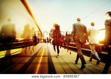 Business People Corporate Walking Commuting City Concept
