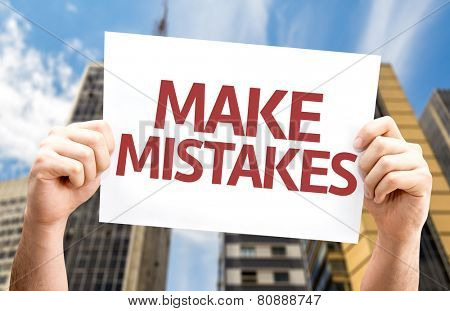 Make Mistakes card with a urban background