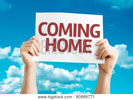 Coming Home card with sky background poster