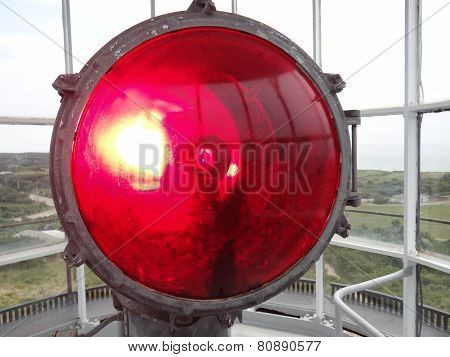 Closeup Of Red Light In Gay Head Lighthouse