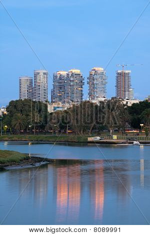 Tel Aviv City Reflection in Ayarkon River poster