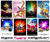 Set of 8 Quality Colorful Background for Discotheque Event Flyers with music design elements poster