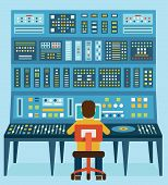 Vector illustration of work place sound engineer's. Mixing console. Analog synthesizer - vector illustration poster