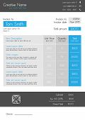 Business invoice template - modern sleek style in blue and light grey. Fully editable EPS10. A4 format. Font used - Paneuropa neue. poster