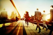 Business People Corporate Walking Commuting City Concept poster