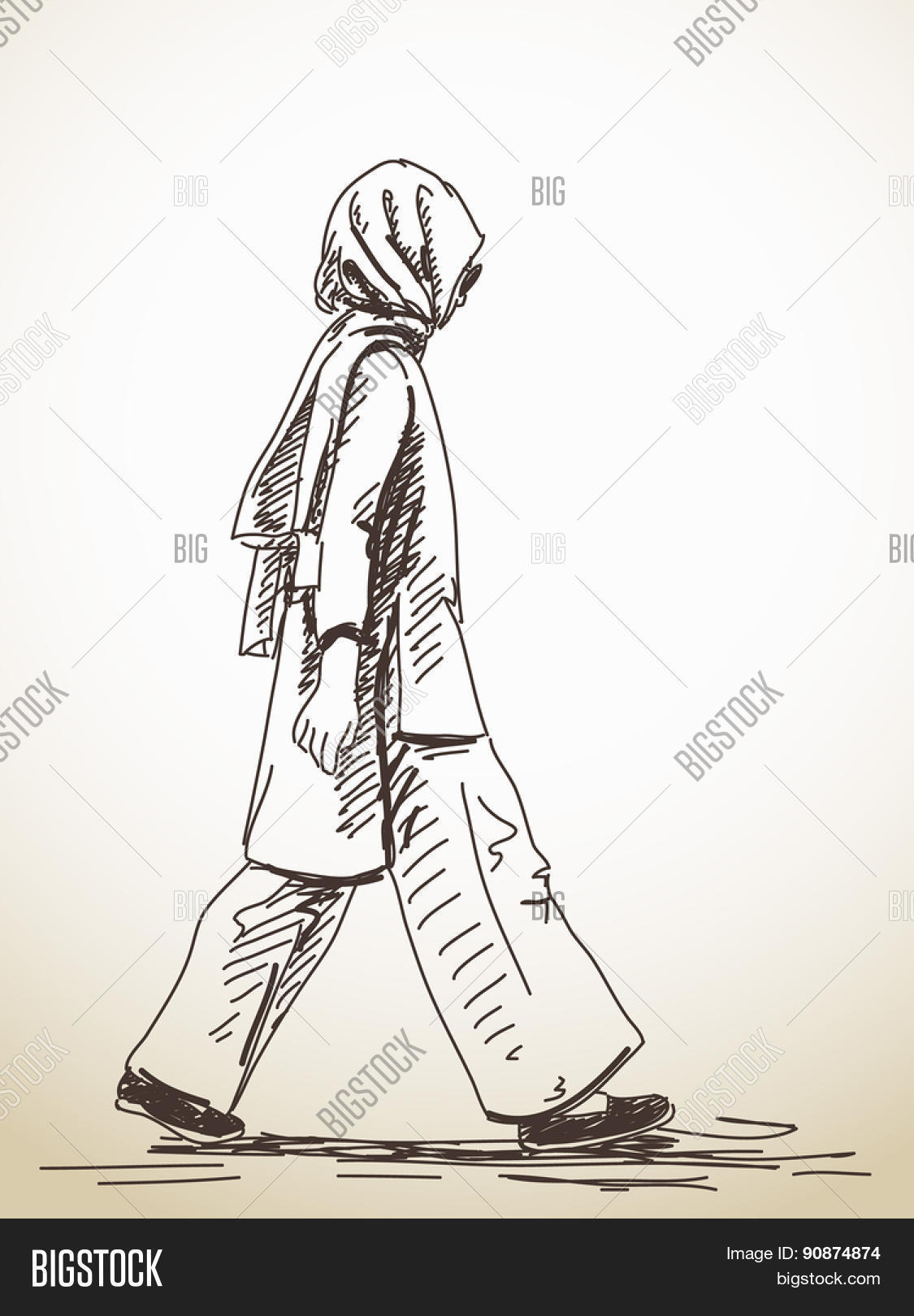 Sketch of walking muslim woman hand drawn illustration