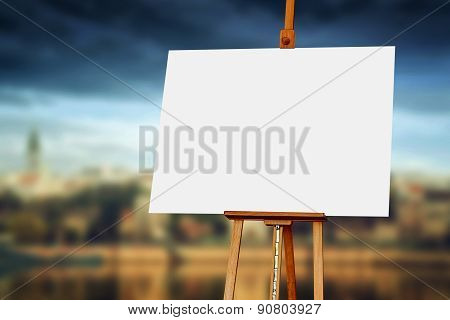 Wooden Easel With Blank Painting Canvas