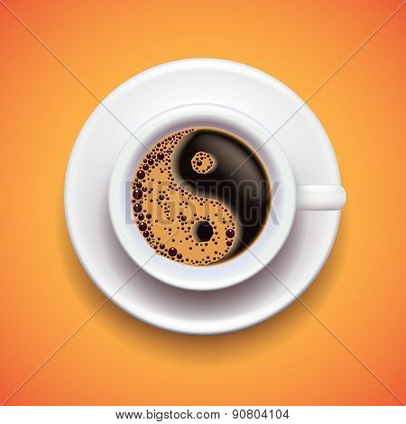 Yin-yang Coffe Cup, Relax Concept Vector