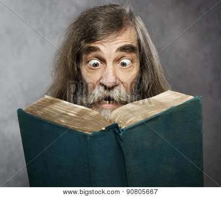 Senior Old Man Read Book, Amazing Face Crazy Shocked Eyes