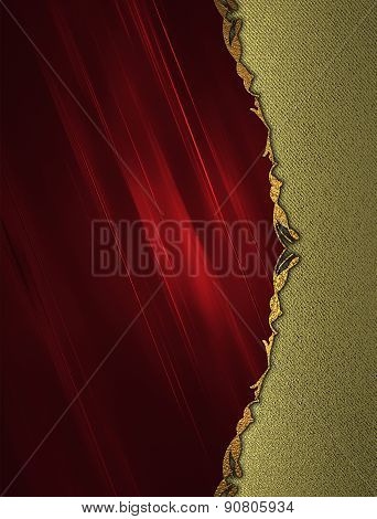 Abstract Red Background With A Gold Border On Gold Background. Design Template. Design Site