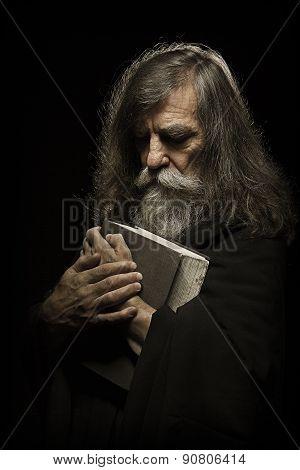 Senior Prayer, Old Man Praying With Hands On Bible Book