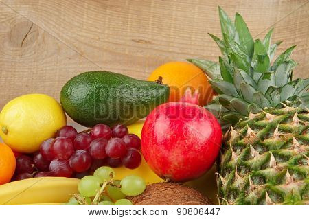 Dietetic Set Of Paleo Diet Of Fruits On Wooden Plank