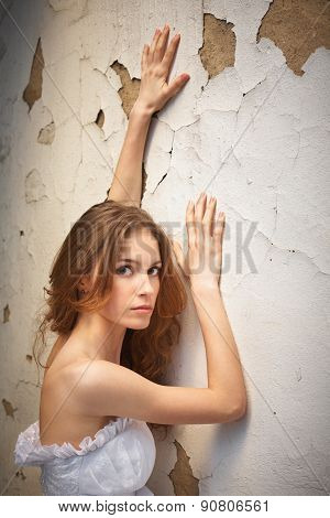 Bride On Background Of The Old Wall