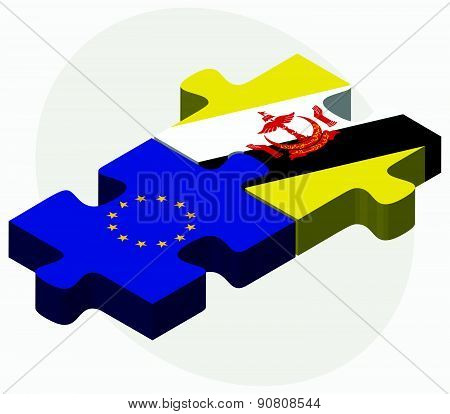 Vector Image - European Union and Brunei Darussalam Flags in puzzle isolated on white background.. poster