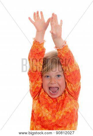 Little Funny Jubilating Girl