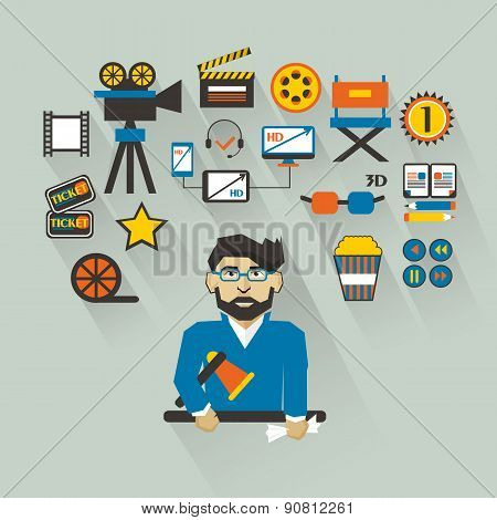 Profession Of People. Flat Infographic. Filmmaker.