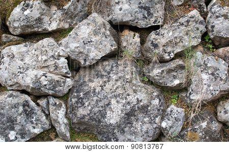 Old rocks in drystone wall