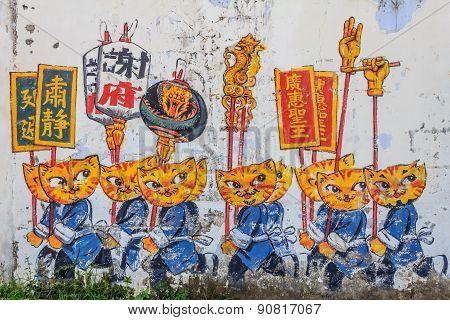 Penang Wall Artwork Cats And Humans