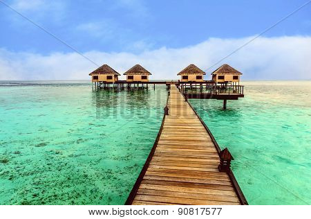 Beautiful Water Bungalows And The Beach In Maldives