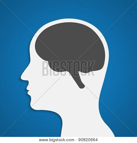Silhouette Of A Human Head With Brain. Vector Illustration.