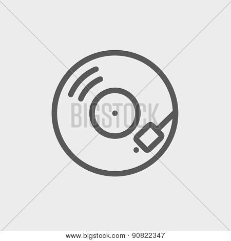 Phonograph turntable icon thin line for web and mobile, modern minimalistic flat design. Vector dark grey icon on light grey background.
