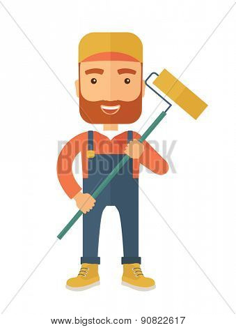 A young Caucasian glass cleaner wearing hat holding stick rubber scraper. A Contemporary style. Vector flat design illustration isolated white background. Vertical layout.