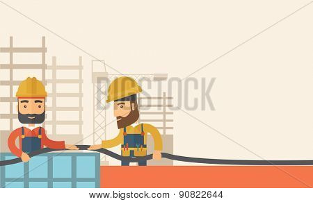 A two hipster builders wearing hard hat for their safety ladders use for construction. A Contemporary style with pastel palette, soft beige tinted background. Vector flat design illustration