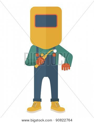 A worker wearing welding mask, protection for eyes use for welding a metal or steel. A Contemporary style. Vector flat design illustration isolated white background. Vertical layout. poster