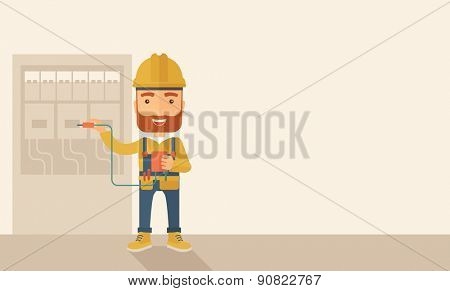 A hipster Electrician wearing hard hat repairing an electrical panel. A Contemporary style with pastel palette, soft beige tinted background. Vector flat design illustration. Horizontal layout with